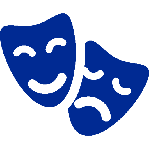 Kate Current blurb theater masks blue